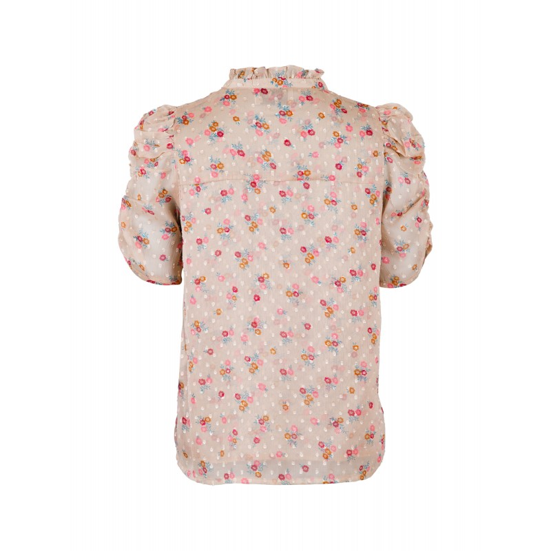 Neo Noir I Pepe Dobby Flower Bluse I Beige-32
