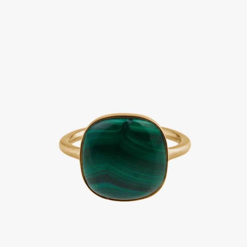 Pernille Corydon | Malachite Ring | Forgyldt-31