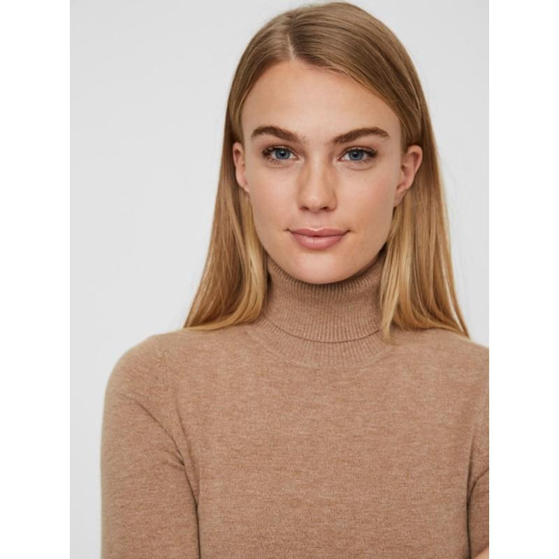 Vero Moda   Happy Rullekrave Bluse   Brun-31