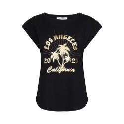 Sofie Schnoor | Nikoline T-shirt | Sort M. Guld Print-20
