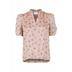 Neo Noir I Pepe Dobby Flower Bluse I Beige-20