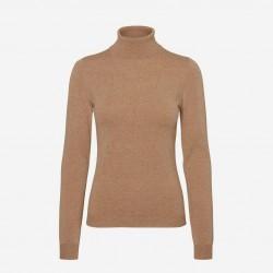 Vero Moda | Happy Rullekrave Bluse | Brun-20